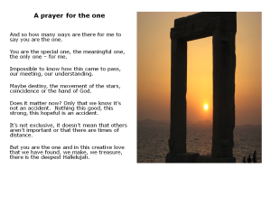 A prayer for the one